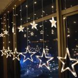 Instalatie craciun perdea luminoasa ploaie de 12 stele
