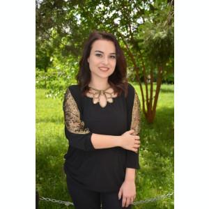 Bluza eleganta Belladonna,design cu dantela la maneca,nuanta de negru