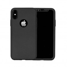 Husa Apple iPhone X Flippy Full Cover 360 Negru + Folie de protectie