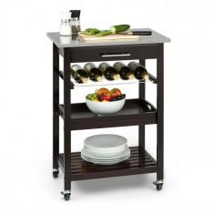 Klarstein KLARSTEIN VERMONT, cărucior de bucătărie cu roți, priză, sertare, rafturi pentru vin, oțel inoxidabil
