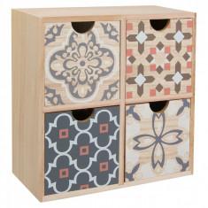Cutie din lemn pentru depozitare, model cu 4 sertare, 22x22x10 cm