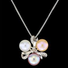 Colier din Argint 925 cu Perle Naturale si Diamante, Harmony