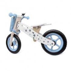Bicicleta lemn cu cosulet Balance Albastra