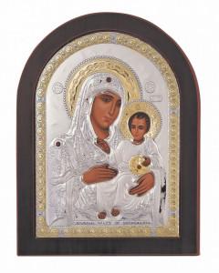Icoana Maica Domnului de la Ierusalim 15x21cm Argint 925 Auriu Cod Produs 1633