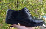 Pantofi dama piele Oxford Benvenuti, 37, Negru, Cu talpa joasa