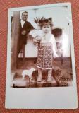 Fetita in costum popular, cu minge si jucarii - Fotografie tip CP, datata 1927