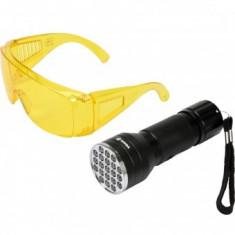 Kit lanterna led UV cu ochelari, Vorel 82756, aluminiu, 255 lm