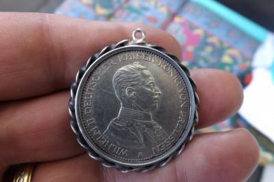 Moneda germana din argint.Drei mark 1914.Perfecta. foto