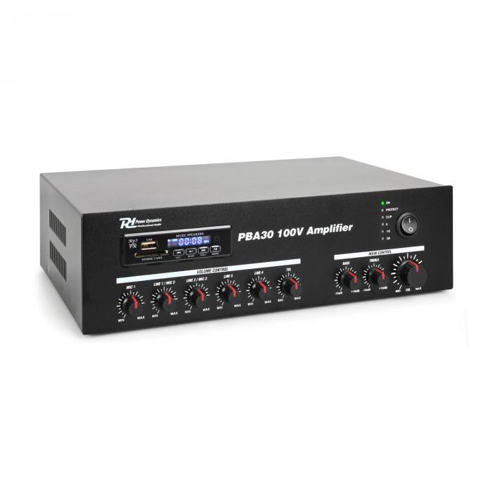 Power Dynamics PBA30, amplificator 100 V, 30 W, port usb / sd, mp3, bluetooth