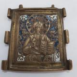 ISUS HRISTOS-ICONITA DIN TRIPTIC-BRONZ SI EMAIL-RUSIA CCA 1900
