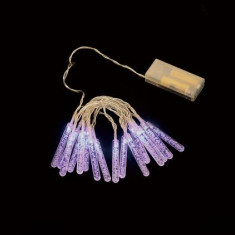 Ghirlanda luminoasa decorativa cu turturi 16 LED uri albastre cablu transparent WELL