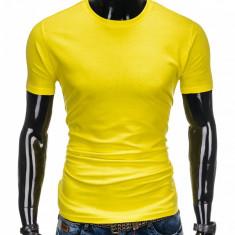 Tricou pentru barbati, galben simplu, slim fit, mulat pe corp, bumbac - S884