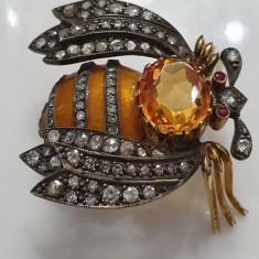 Brosa-pandantiv din aur, argint, email, citrin, diamante, rubine