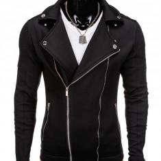 Jacheta pentru barbati, slim fit, inchidere laterala, negru - B699