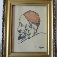 SAMUEL MUTZNER TABLOU pictor roman, Portrete, Carbune, Altul