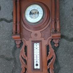 Antic ansamblu barometru,termometru de dimensiuni impresionante