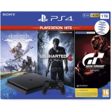 Consola SONY Playstation 4 Slim, 1TB, Jet Black + Horizon Zero Dawn + Uncharted 4 + GT Sport HITS