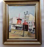 Cumpara ieftin DAN HATMANU -ARTIST PLASTIC NATIONAL -PEISAJ DIN PARIS-MOULIN-ROUGE -ulei/panză, Nud, Realism