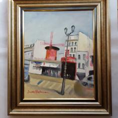 DAN HATMANU -ARTIST,PICTOR IESEAN -PEISAJ DIN PARIS-MOULIN-ROUGE -ulei/panză