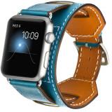 Curea pentru Apple Watch 40mm Piele 4 in 1 iUni Cuff Albastru