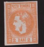 RO-62=ROMANIA 1868-2 bani portocaliu-CAROL cu favoriti-nestampilat cu sarniera