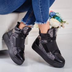 Sneakers dama cu platforma negri Acira -rl