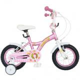 Bicicleta Copii 12 Inch Little Lady, Bonanza, G1202B/1, Cadru Otel, Roti Ajutatoare, Varsta 2-4 Ani, Roz/Alb