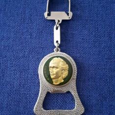 Breloc vechi de colectie Mihai Eminescu - per. R.S.R. - vintage - Insigna