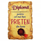 Magnet Diploma pentru Cel mai bun PRIETEN din lume, lemn, Alexer