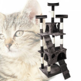 Ansamblu de joaca pisici, 170 cm, sisal, 2 casute, scarite, gri-alb