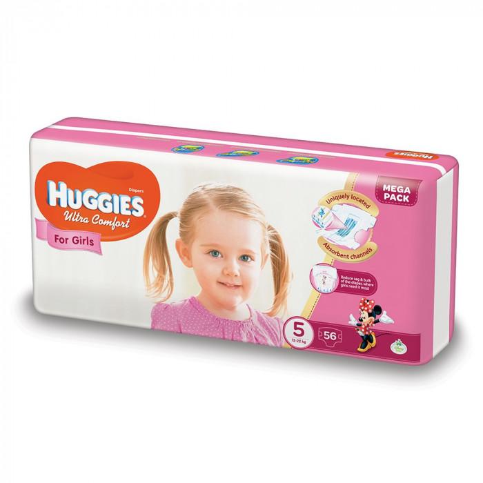 Scutece Huggies Ultra Confort Mega, Numarul 5, pentru fete, 56 bucati, 12-22 Kg EVO