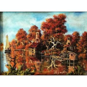 Tablou Agapie Peisaj de Toamna pictura în ulei pe panza 40x49cm