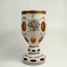 n Pahar vechi sticla galbena, pictat manual Biedermeier, cupa, pocal, antic