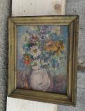 Pictură litografie veche vaza cu flori