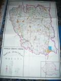 Harta mare a Judetului Galati 1977 , dim. = 127x85cm , RSR Inst. Geodezie si Org