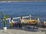 Set mobilier gradina / terasa Assento Outdoor Antracit / Galben, 2 fotolii + canapea 3 locuri + masa de cafea