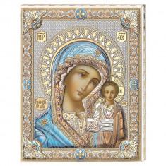 Icoana Maica Domnului Kazan, pe Foita de Argint, 20x26cm Cod Produs 2155