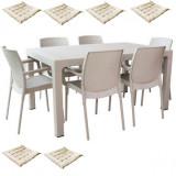 Set curte,gradina MAITAS masa CLASSI RATAN 90x150x75cm 6 scaune SUNSET RATTAN polipropilen/fibra sticla culoare capucino,6 perne scaun B004267-42322-4