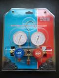 Baterie manometre freon R134A,R410A,R22,R404, + 2 cuple auto pentru freon