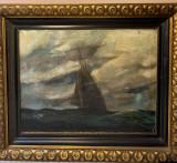 Marină U/P- pictură veche, Peisaje, Ulei, Altul
