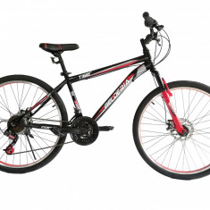 """Bicicleta MTB Vision Tiger 2D Suspensie Fata Culoare Negru/Rosu Roata 26"""" OtelPB Cod:202604010305"""