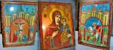 A734-3 Icoane carton vechi interbelice rame lemn. Iisus Hristos, Fecioara-Sf, Gh
