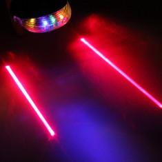 Stop 5 led pentru bicicleta si 2 lasere traseu, culoare multicolora, laser rosu