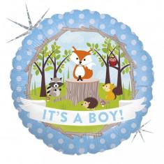 Balon botez baietel cu animalute din folie 43cm