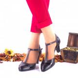 Pantofi dama eleganti din piele naturala ,negri si piele naturala lacuita toc 5cm - NAA9