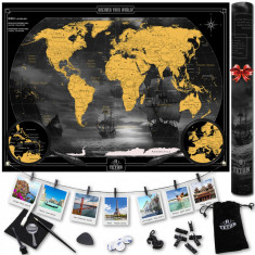 Set Harta Razuibila a Lumii, tetonQ, Luxury Edition XL, Accesorii, 90 cm x 64 cm