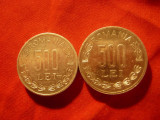 2 Monede aluminiu 500 lei 1999 si 2000 , cal. apr. NC