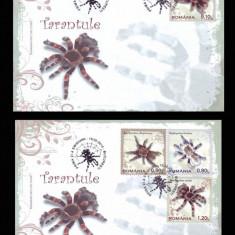 2010 Romania, 2 FDC Tarantule LP 1856, plicuri prima zi