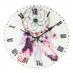 Ceas de perete din sticla, model talisman, 30 cm, multicolor