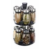 Cumpara ieftin Set 12 recipiente pentru condimente cu suport rotativ, capace metal, Grunberg